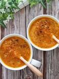 優しい甘みにベーコンの旨味♡すりおろし人参と玉ねぎのスープ