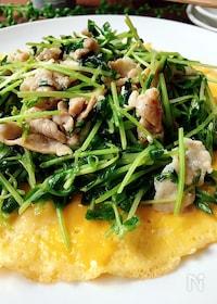 『包丁いらず✲豆苗と豚肉のマヨネーズソテーとふわふわ卵焼き』