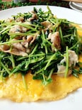 包丁いらず✲豆苗と豚肉のマヨネーズソテーとふわふわ卵焼き