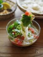 野菜と鯖缶で具だくさん!タイ風サラダつけそうめん