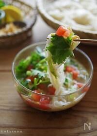 『野菜と鯖缶で具だくさん!タイ風サラダつけそうめん』
