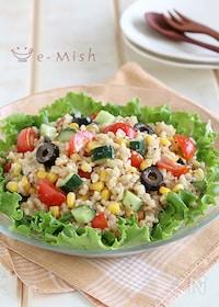 『玄米ごはんとカラフル野菜のサラダ』