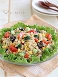 玄米ごはんとカラフル野菜のサラダ