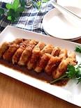 ソースも美味しい♡長芋の豚ロース巻きバルサミコ山葵醤油ソース