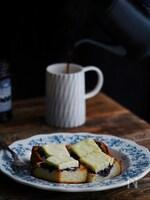 朝からさっくり食パンのブルーベリーとクリームチーズトースト