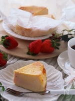 ホワイトデーに♡マーブルが可愛い苺のバスク風チーズケーキ