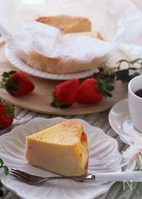 『ホワイトデーに♡マーブルが可愛い苺のバスク風チーズケーキ』