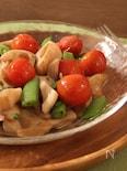 れんこんとミニトマトとスナップエンドウのアンチョビソテー