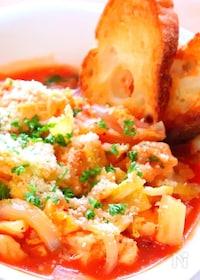 『レンジで簡単!チキンと春キャベツのトマト煮込みの作り方』