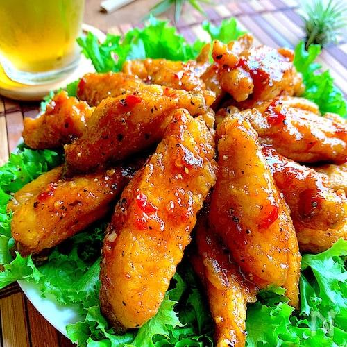 暑い‼︎だから食べたい‼︎辛党ビール党の手羽中で旨辛油淋鶏風