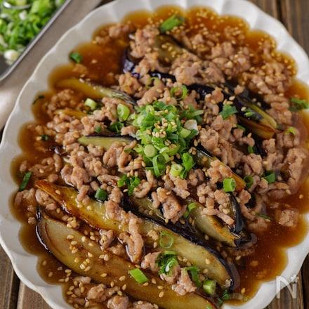 【だしの香りに肉の濃く】トロトロ茄子と豚ひきの生姜あんかけ