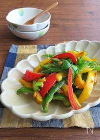 『カラフル野菜で簡単調理☆パプリカとピーマンのツナカレー炒め』