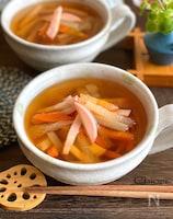 根菜とかまぼこの麺つゆスープ