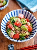 【夏野菜とツナの中華サラダ】ごま油香る♬︎夏の副菜♡