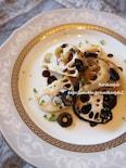 蓮根のグリル バルサミコ黒オリーブソース