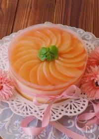 『クリアファイルで簡単☆フレッシュの桃で作る、桃のムースケーキ』