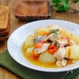 レンジで簡単魚料理!*じゃがいもと鱈のガーリックトマト蒸し*