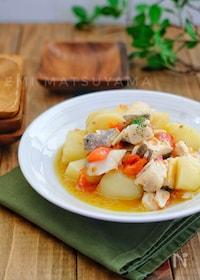 『レンジで簡単魚料理!*じゃがいもと鱈のガーリックトマト蒸し*』