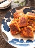 周りカリッと中ふわっと美味♡かつおぶし衣の豆腐の揚げ焼き