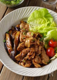 『【黒酢でさっぱり】豚こまと茄子のオイスター生姜の焼き』