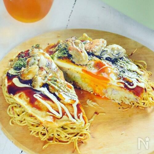 牡蠣の広島風お好み焼き
