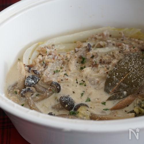 豚バラ肉と白菜の豆乳ミルフィーユ