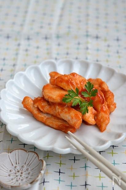 鳥胸肉のケチャップ炒め