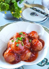 『【レンジだけで5分】甘酢たっぷり肉だんご*卵なしつなぎは豆腐』