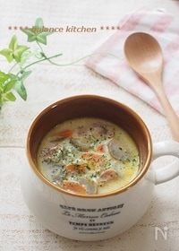 『子どもも食べやすい。ごぼうとベーコンの豆乳スープ』