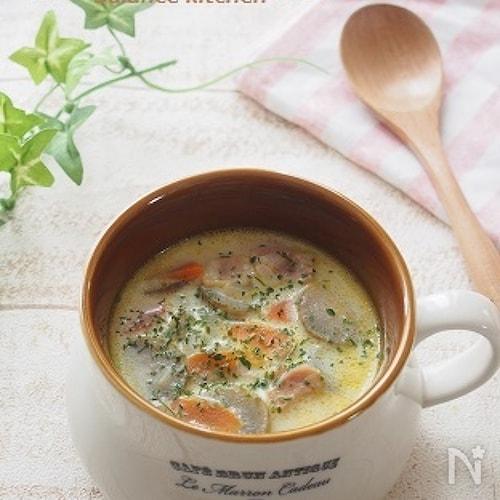 子どもも食べやすい。ごぼうとベーコンの豆乳スープ