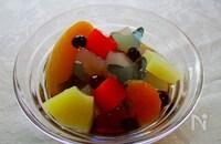 青い蝶舞う!手作り葛餅&フルーツみつ豆の黒蜜がけ