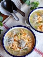 生姜で健康に*餃子と卵と長ねぎの食べるスープ
