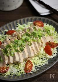 『レンジ調理で簡単♪しっとり柔らかな鶏むね肉のめんつゆマヨ蒸し』
