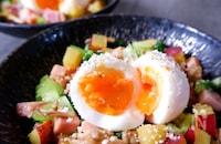 \さつま芋と舞茸バター醤油/ゆで卵を崩して食べる♪