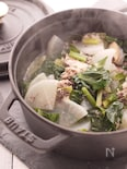 『サバ缶』を使った小松菜と大根の煮物