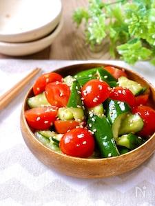 水っぽくないから美味しい!『きゅうりとミニトマトの中華和え』