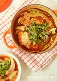 『タラのトマトオリーブオイル鍋』
