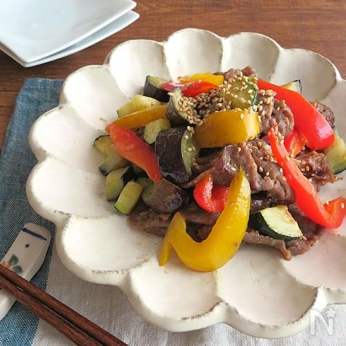 スタミナたっぷり◎牛肉と夏野菜の生姜焼き