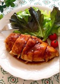 『マヨ効果で柔らか美味しい♡鶏むね肉の黒酢照り焼き』