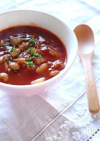 『根菜と大豆の食べるトマトスープ』