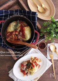 『鯖缶で下処理いらず♡お酒がすすむ鯖とキャベツのトマト煮♡』