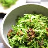 【あと一品】2分おつまみ♡さんまの蒲焼缶とわさび菜のラー油和