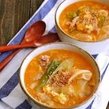 ワンタンの皮入り!かき玉豚キムチスープ