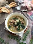 塩豚と冬野菜の押し麦入りごちそうスープ