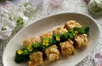 簡単おつまみ〜厚揚げと菜の花の新玉ねぎ味噌マヨ焼き