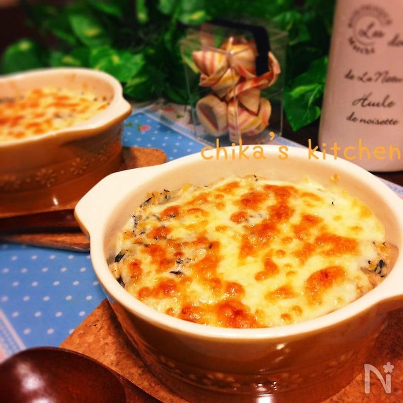 3. ひじきの煮物でお豆腐のヘルシー和風ドリア