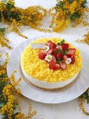 ミモザ風 レモン・レアヨーグルトケーキ【混ぜるだけ・簡単】