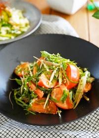 『【3分】和えるだけ♪ほんのり中華たっぷり薬味とトマトのサラダ』