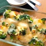 子供も喜ぶ♡生鮭とポテトのカレーマヨチーズ焼き