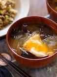 きくらげと春雨と落とし卵の味噌汁
